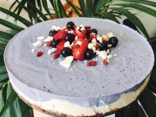 Raw blueberry vanilla cheesecake